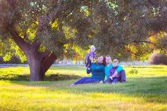 Rodzina z dwa dziećmi siedzi pod drzewem w parku Obraz Royalty Free