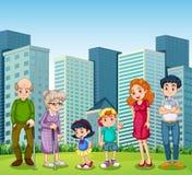 Rodzina z dziadkami przed budynkiem ilustracja wektor
