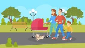 Rodzina z dziećmi i spacerowiczem chodzi psa royalty ilustracja