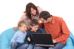 rodzina z laptopa Fotografia Royalty Free