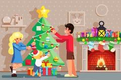 Rodzinna dekoruje boże narodzenie nowego roku zimy wakacje graby drzewnego izbowego tła projekta wektoru płaska ilustracja ilustracji