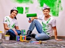 Rodzinna farby ściana w domu Fotografia Stock