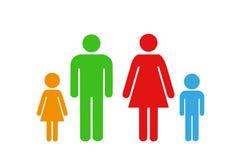 Rodzinna ikona nad białym tłem Zdjęcie Royalty Free