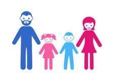 Rodzinna ikona z dwa dziećmi Zdjęcie Royalty Free