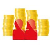 Rodzinna ikona z złotymi monetami Deponujący pieniądze, kredyt, pożyczkowy pojęcie ilustracji