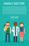 Rodzinna lekarka sztandar Dbać dla zdrowie dziecko Pediatra ojciec z synem i matka i Fotografia Stock
