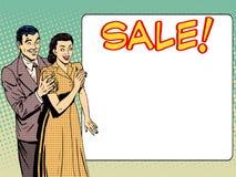 Rodzinna mąż żona ogłasza sprzedaż ilustracja wektor