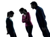 Rodzinna ojciec matki córki spora karcenia sylwetka Zdjęcie Stock