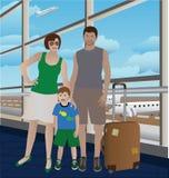 Rodzina przy lotniskiem ilustracji