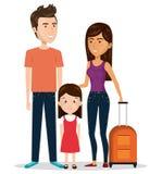 Rodzinna podróż z walizkami royalty ilustracja