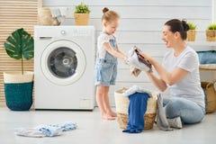 Rodzinna robi pralnia zdjęcie stock
