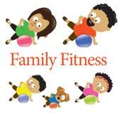 Rodzinna sprawność fizyczna z ćwiczenie piłką 2 ilustracja wektor
