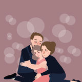 Rodzinna uściśnięcie opieki ojca matka ich córki przebaczenia depresja ilustracja wektor
