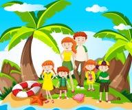 Rodzinna wycieczka przy nadmorski royalty ilustracja