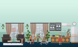 Rodzinne charakter wektorowe płaskie ikony ustawiać w domu ilustracji