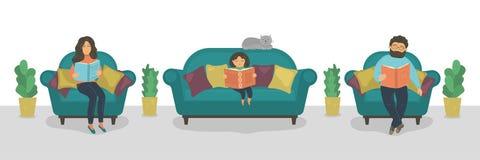 Rodzinne czytelnicze książki Matki, ojca i córki czytelnicze książki na kanapie, ilustracja wektor