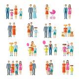 Rodzinne ikony Płaskie Zdjęcia Royalty Free