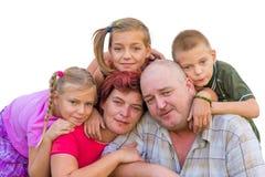 Rodzinne portreta trzy siostry i brat z rodzicami Zdjęcie Stock