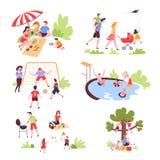 Rodzinnego lata plenerowa aktywność i odtwarzanie czas wolny royalty ilustracja