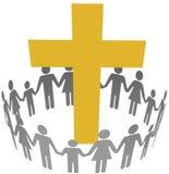 Rodzinnego okręgu społeczności Chrześcijański krzyż Obraz Stock