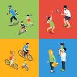 Rodzinni plenerowi sporty bawić się wychowywać mieszkania 3d isometric wektor royalty ilustracja