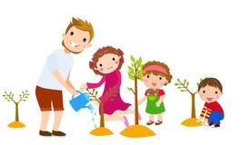 Rodzinni rośliien drzewa w parku royalty ilustracja