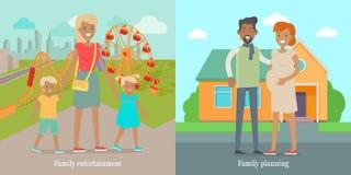Rodzinni rozrywki i Panning socjalny sztandary royalty ilustracja