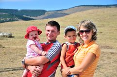 rodzinni szczęśliwi potomstwa Fotografia Stock