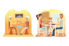 Rodzinni wakacyjni kreskówek pojęcia Mama, tata, syn, córka przy gościem restauracji royalty ilustracja