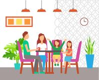 Rodzinny łasowanie przy Za stole, Cukierniany Wewnętrzny projekt ilustracja wektor