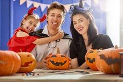 Rodzinny świętuje Halloween Zdjęcia Stock