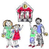Rodzinny budżet jednakowy ilustracja wektor