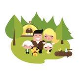 Rodzinny camping outdoors ilustracji
