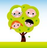 Rodzinny drzewo z dziadkami i dzieciakami ilustracji