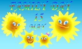 Rodzinny dzień, Słoneczna rodzina/ Obraz Royalty Free