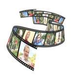 rodzinny filmstrip odizolowywający przedmiot nad fotografiami biały Zdjęcie Stock