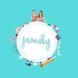 Rodzinny mama tata, dzieciaki i podróżujemy transport opcje używać samochodowego samolot lub statek dla wakacje Zdjęcia Stock
