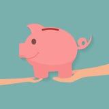 Rodzinny nauczania dziecko save pieniądze i pieniężnego planowanie Zdjęcia Royalty Free