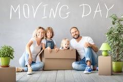 Rodzinny Nowy Domowy Poruszający dnia domu pojęcie fotografia stock