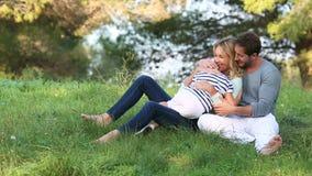 Rodzinny obsiadanie w trawie zbiory