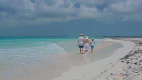Rodzinny odprowadzenie wpólnie przy plażą zdjęcie wideo