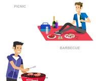 Rodzinny pinkin BBQ przyjęcie Jedzenie i grill Zdjęcie Royalty Free