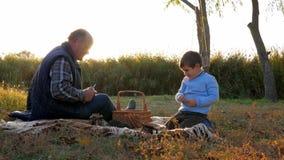 Rodzinny pinkin, stary człowiek z wnukami siedzi blisko kosza na koc z owoc w rękach przy czasem wolnym w wiośnie zbiory