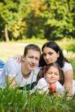Rodzinny portret w parku obraz stock