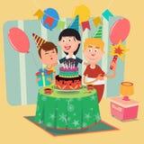 Rodzinny przyjęcie urodzinowe Szczęśliwi Rodzinni odświętność synowie Urodzinowi wektor ilustracji
