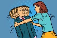 Rodzinny skandal żona trząść jej męża Kobiety i mężczyzn nierównomierni powiązania, eksploatacja ilustracja wektor