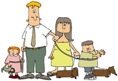rodzinny smycz ilustracji
