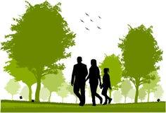 rodzinny spacer ilustracji