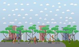 Rodzinny spacer w parkowego pojęcia wektorowej ilustraci, mieszkanie styl ilustracja wektor