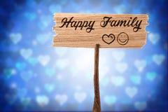 rodzinny szczęśliwy znak fotografia stock